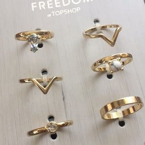 Freedom by TopShop 6 Goldplated Ring Set NWT